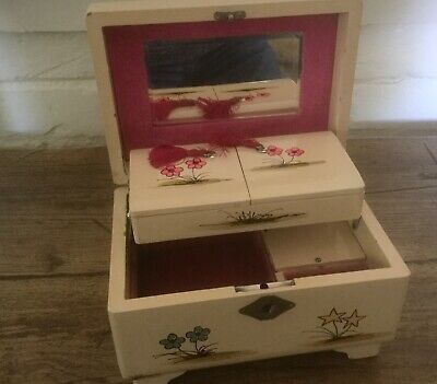 50s/60s vintage musical jewellery box with french street scene