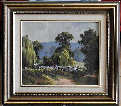 Allan Fizzell (1944-) Original Oil Painting Morning Chat on Barrington Bridge
