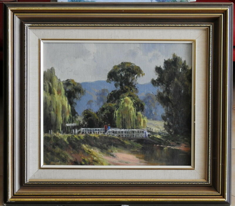 Allan+Fizzell+%281944-%29+Original+Oil+Painting+Morning+Chat+on+Barrington+Bridge