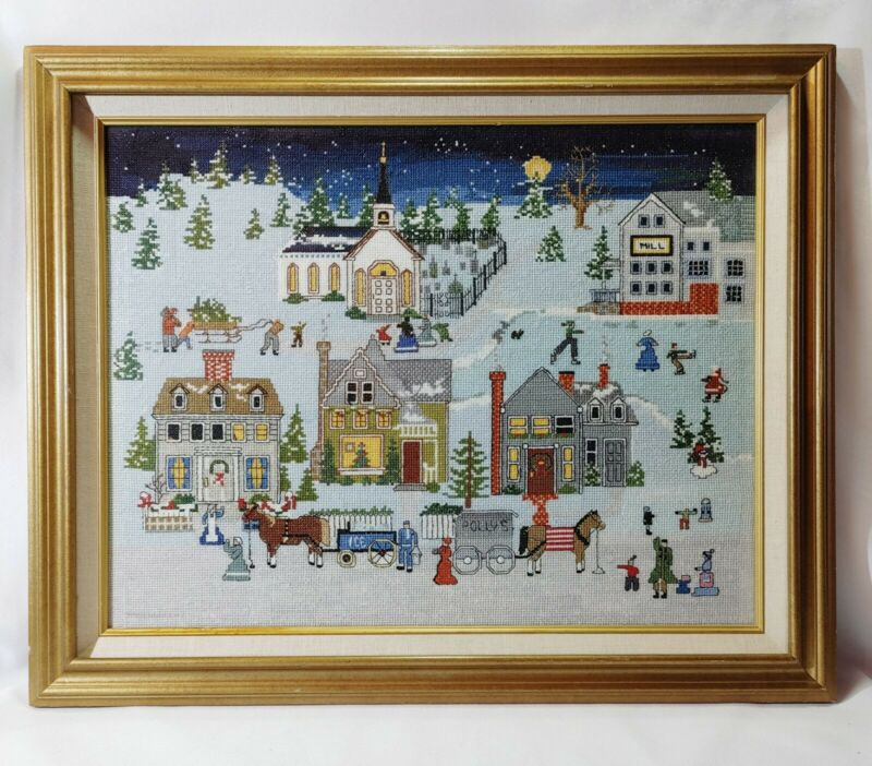 Baumer Preparing for Christmas Cross Stitch 1985 Completed Framed/Glass 14 x 18