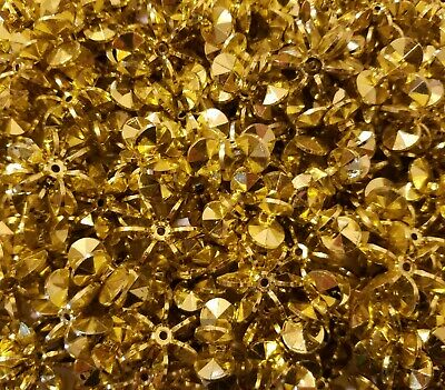 100 Pcs Metallic Gold 25mm Large Starflake Sunburst Plastic Acrylic Craft Beads