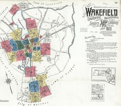 Wakefield, Massachusetts~ about 30 sanborn maps~ on  CD made in 1923 in color