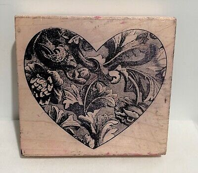 MAGENTA Heart Valentines Day Love Wood Rubber Stamp -