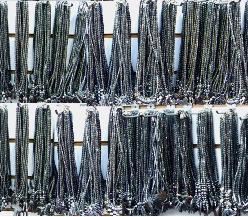 100 PCS Necklaces Lot Hematite Stone Tusk Cross Turtle Wish Luck Heart Star Sun