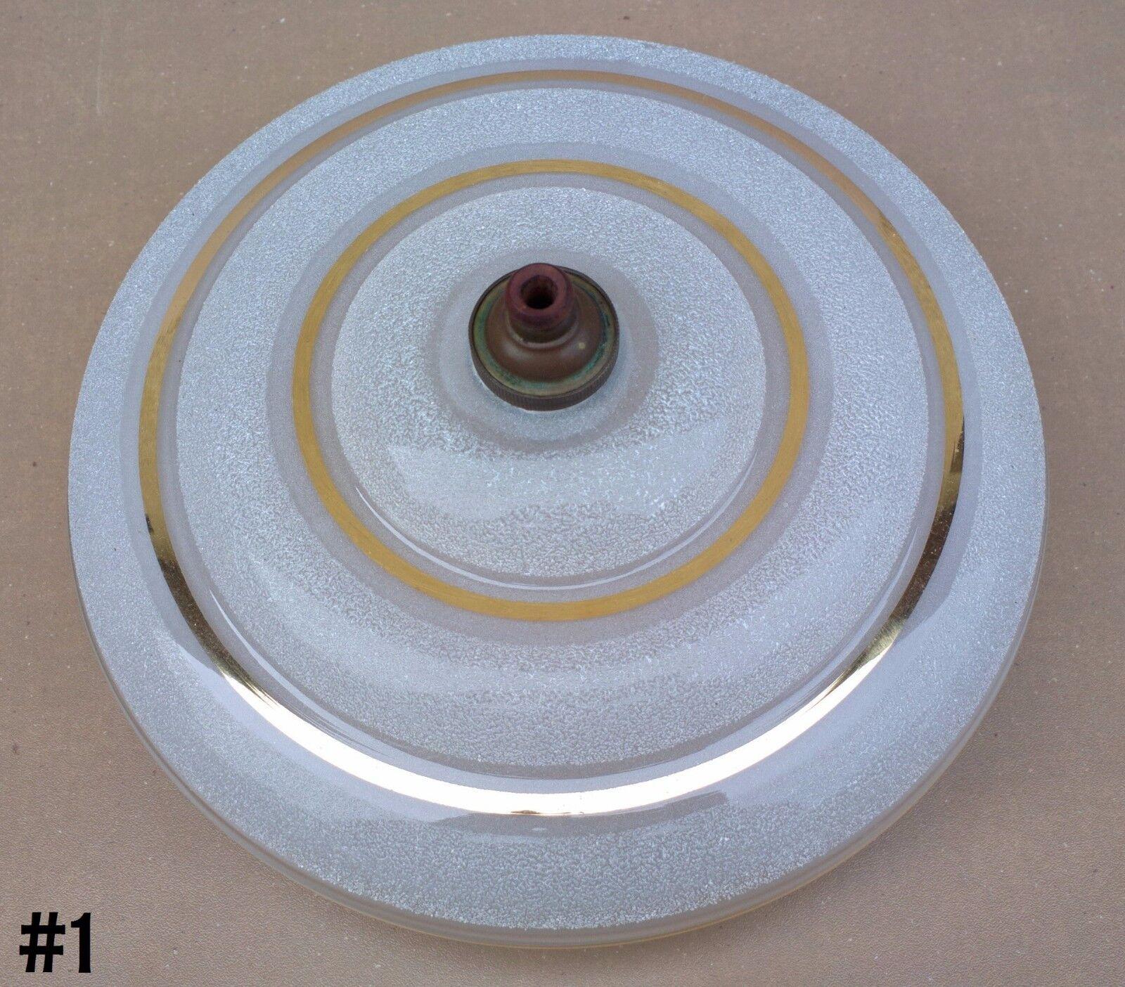 Ancien suspension abat jour verre granuleux dore luminaire art dÉco douille #1