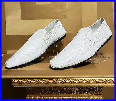 NEW VERSACE WHITE WOVEN LEATHER DRIVER SHOES 44.5 - 11.5