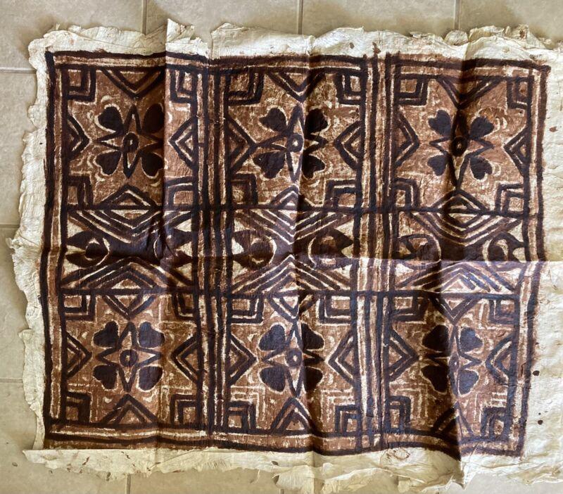 "Old Polynesian Tapa Bark Cloth Pacific Islands Oceania 36""x 30"""