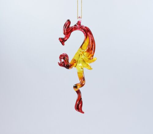 Hanging Dragon Yellow Red of Blown Glass Crystal