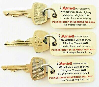 Vintage Original Key and Fob, MARRIOTT HOTEL, Arlington, VA, 2 DIFFERENT ROOMS!