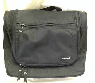 Eddie BauerTravel Kit Bag BlackZip Around with three ZipperedSections 10 x 9 x 4
