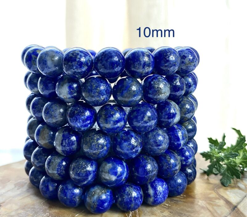"Wholesale 6 Pcs Natural Lapis Lazuli 10mm 7.5"" Crystal Healing Stretch Bracelet"