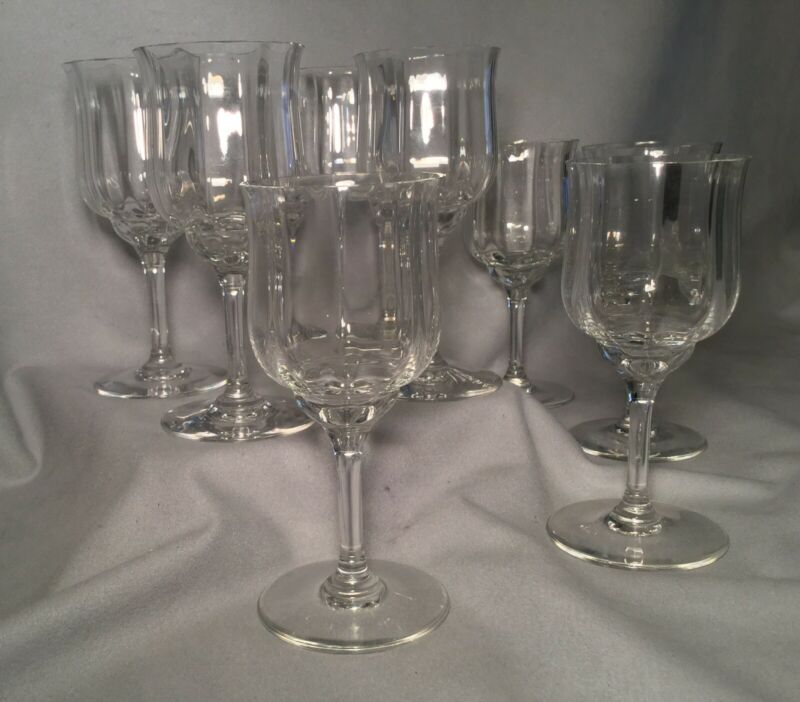 "Original/Vintage/Signed/8 BACCARAT CAPRI OPTIC/Claret Wine Glasses/6"" Tall."