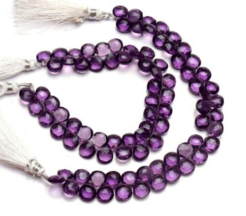 "Amethyst Color Quartz 8MM Faceted Heart Shape Briolette Beads 7"" Strand"