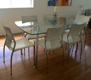 7 piece dining - glass table and 6 chairs - Harvey Norman Margate Redcliffe Area Preview