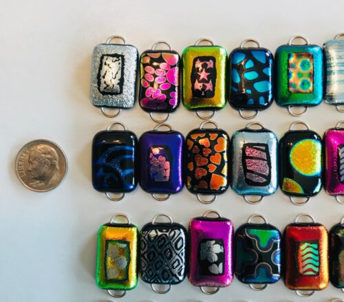 Handmade -50 Dichroic Glass Fused Links! 2 Hoops- All Different - Regular size-H