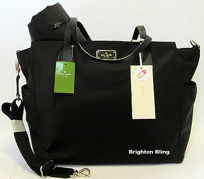 KATE SPADE KAYLIE BLAKE AVENUE BABY DIAPER BAG BLACK MULTI-FUNCTION TOTE $349