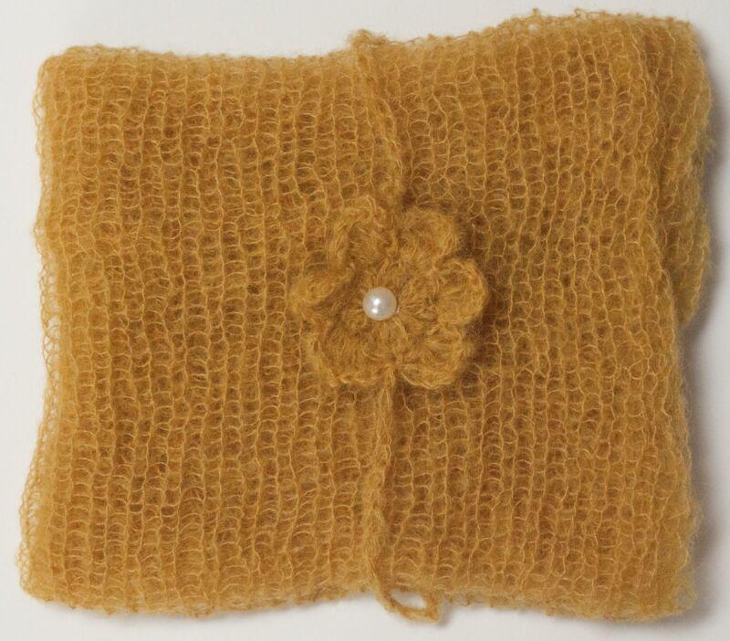 Mustard Mohair Wrap and Matching Headband Photo Prop Newborn Photography
