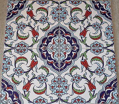 "CLEARANCE Set of 12 Turkish 8""x8"" Ottoman Iznik Floral Pattern Ceramic Tile"