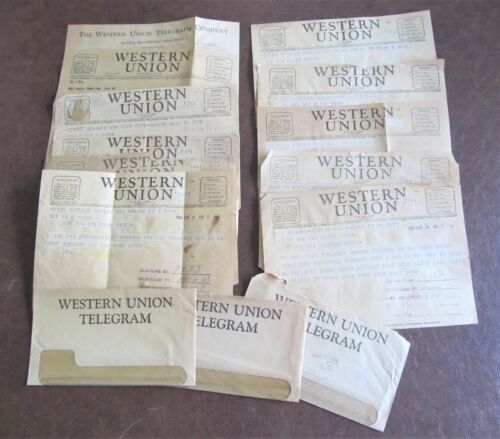 11 Western Union 1943-1946 Telegrams WWII Army Military Pvt. Clyde Marr envelope