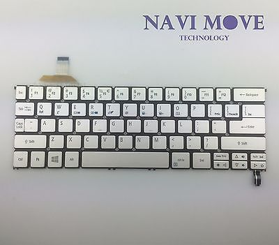 New Acer Aspire S7-391 S7-392 Silver Backlit Laptop Keyboard NK.I1113.02L USA