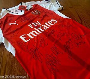 Hand Signed Jersey 2016 Arsenal Football Club Signed Shirt 18 Autographs + COA
