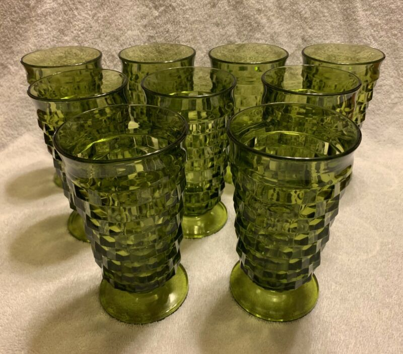 Lot 9 Indiana Glass Whitehall Colony Cubist Avocado Green Footed Drink Tumblers