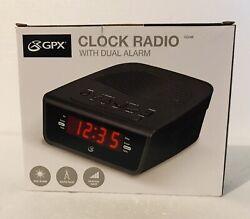 New GPX Audio C224B Dual Alarm Clock AM/FM Radio Digital Volume Control Black