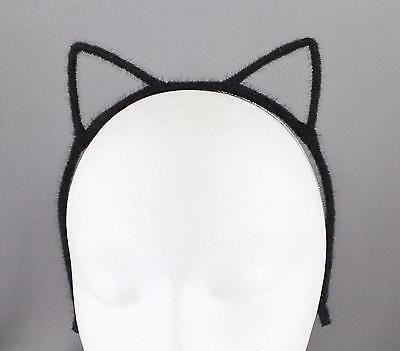 Black Cat Ears (Black cat ears headband furry kitten hair band accessory cosplay cats)