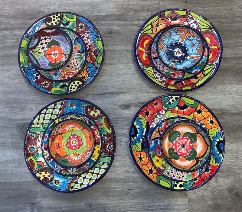Talavera Dinnerware 12 Piece  4 Plate Settings Colorful Floral Mexican Folk Art