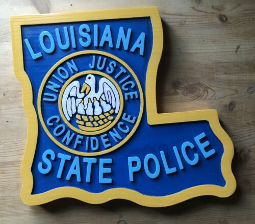 Police Louisiana State 3D routed carved plaque wood Patch Sign Custom Carved