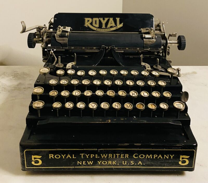 Antique Royal Staircase Flatbed Typewriter Model 5 RARE Refreshed