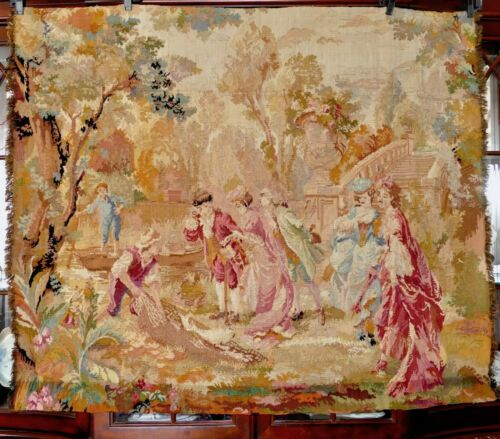19th Cen Aubusson French Woven Embroidered Tapestry Chateau Bourdeaux 4