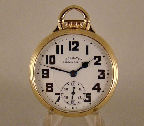 """HAMILTON """"992B RAILWAY SPECIAL""""  WWII 21j 10k GOLD FILLED OF 16s RR POCKET WATCH"""
