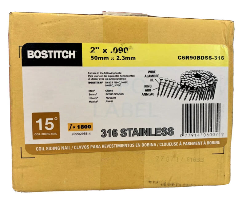 "Bostitch 2"" x 090 15 degree 316 stainless coil siding nail new in box 1800 cnt"