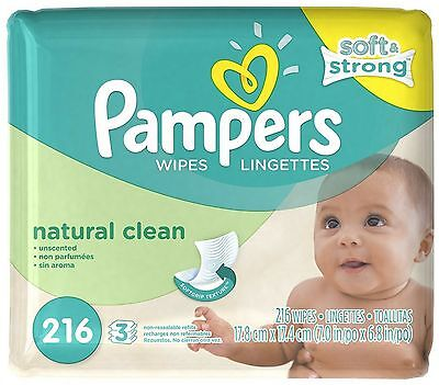 Pampers Natural Clean Wipes Refill, Unscented, 3 Pack 216 ea