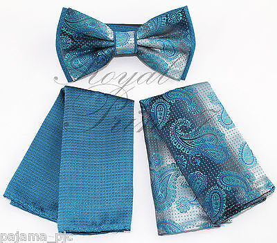 Two Tone Design Paisley Men Teal Blue Green Bowtie and Hankie Wedding BT2T102C](Green And Blue Wedding)