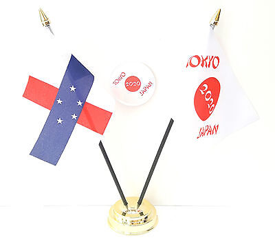 Antilles & Tokyo Japan Olympics 2020 Friendship Desk Flags & 59mm BadgeSet