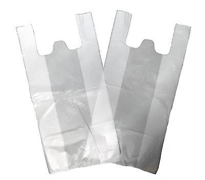 100 Medium White Vest Plastic Carrier Bags 10