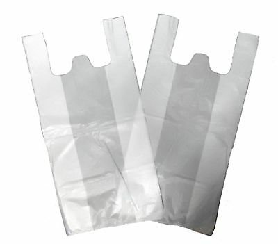 500 x Medium White Vest Plastic Carrier Bags 10
