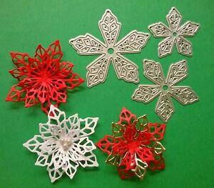 Flower Poinsettia Metal Die Cutter-Christmas Birthday Wedding Card Topper