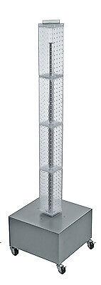 Interlock Pegboard Display In Clear 4w X 4d X 48h Inch With Metal Wheel Base