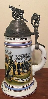 VINTAGE GERMAN REGIMENTAL ARTILLERY BEER STEIN/ CANNON ON LID/LITHOPHANE BOTTOM