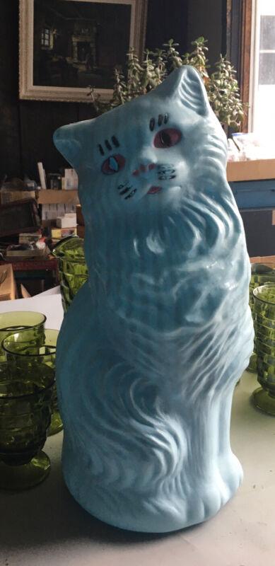 Vtg A.J. Renzi Corp Blue Glamour Puss Cat Plastic Bank Blow Mold ~Light? No 1830