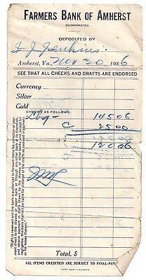 1936 DEPOSIT SLIP Farmers Bank of Amherst Virginia JENKINS