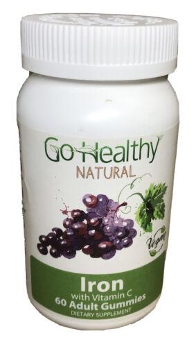 Go Healthy Natural Iron Gummies, Vitamin C, B12, Folic Acid