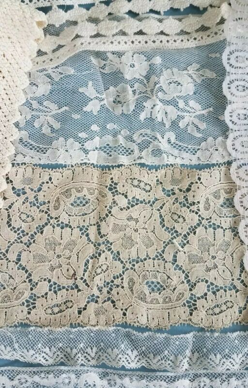 Antique VTG Lot Lace Trim Bits&Cutter Piece Valenciennes Alencon Crochet Collage
