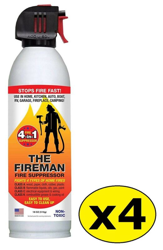 The Fireman Fire Extinguisher Spray: UL Approved Home Use 18 oz (Pack of 4)