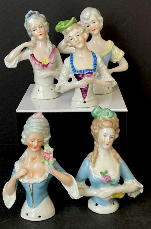 Lot Of 5 Antique/Vintage German Victorian Style Porcelain Pincushion Half Dolls