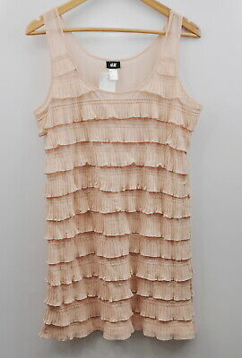 H&M Tier Ruffle Dress size Large Blush Pink New