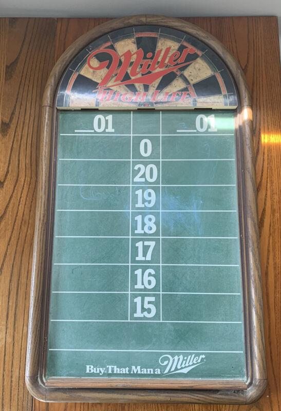 Rare Vintage 1989 Miller High Life Beer Bar Sign Chalkboard Dart Score Keeper